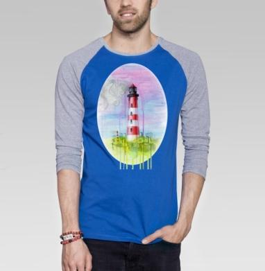 Морская фантазия в промышленном городе - Футболка мужская с длинным рукавом синий / серый меланж, акварель, Популярные