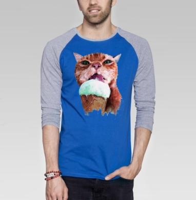 Кот который любит мороженое  - Футболка мужская с длинным рукавом синий / серый меланж, мороженое, Популярные