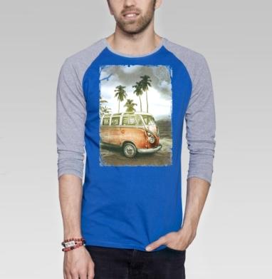 Куба рядом - Футболка мужская с длинным рукавом синий / серый меланж, лето, Популярные