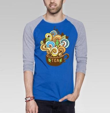 Любитель чая - Футболка мужская с длинным рукавом синий / серый меланж, природа, Популярные