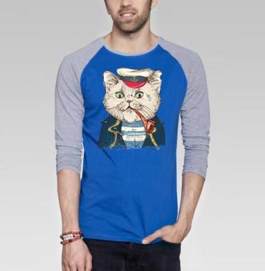 Пират-кот - Футболка мужская с длинным рукавом синий / серый меланж, лето, Популярные