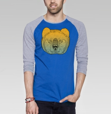 Утренний Медведь - Футболка мужская с длинным рукавом синий / серый меланж, голова, Популярные