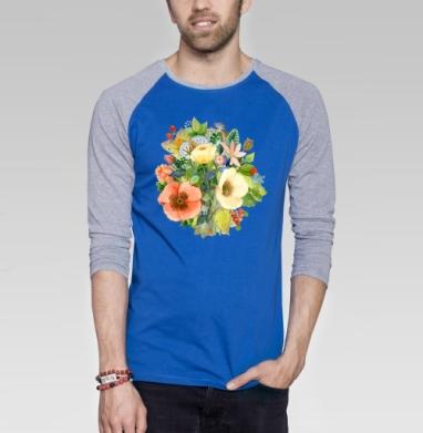 Букет Цветов - Футболка мужская с длинным рукавом синий / серый меланж, лето, Популярные