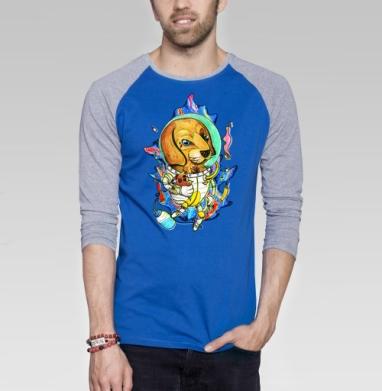 Космо-тату-пес  - Футболка мужская с длинным рукавом синий / серый меланж, собаки, Популярные