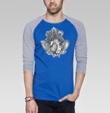Крылатое Сердце - Футболка мужская с длинным рукавом синий / серый меланж, Крылья, Популярные