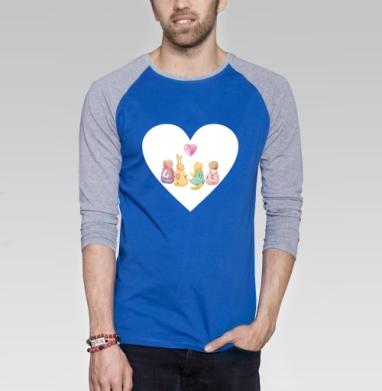 Милые звери. Любовь - Футболка мужская с длинным рукавом синий / серый меланж, акварель, Популярные