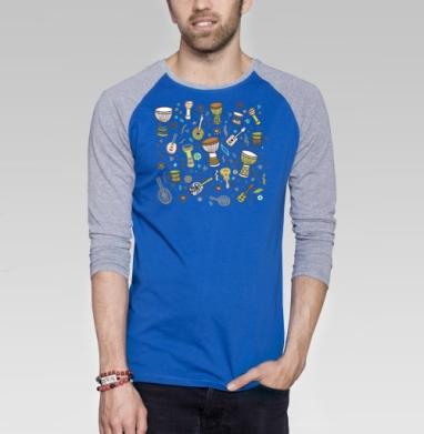 Укулеле-мания - Футболка мужская с длинным рукавом синий / серый меланж, музыка, Популярные