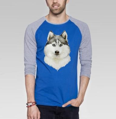 Хаски - Футболка мужская с длинным рукавом синий / серый меланж, собаки, Популярные