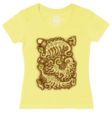 Футболка женская желтая - Забавные бактерии