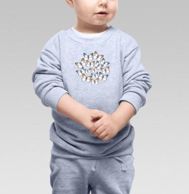 Cвитшот Детский серый меланж - Бабочки