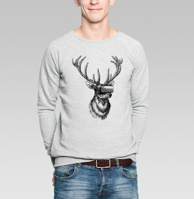 Олень в виртуале - Купить мужские свитшоты с программистом в Москве, цена мужских свитшотов с программистом с прикольными принтами - магазин дизайнерской одежды MaryJane