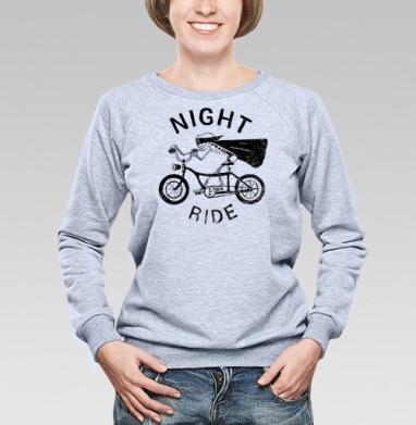Ночная езда на велосипеде - Купить детские свитшоты с мотоциклами в Москве, цена детских свитшотов с мотоциклами  с прикольными принтами - магазин дизайнерской одежды MaryJane