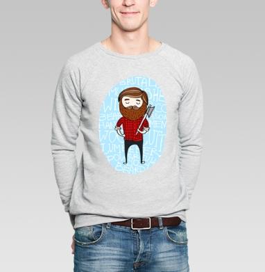 Лесоруб в клетку - Купить мужские свитшоты с бородой в Москве, цена мужских свитшотов с бородой  с прикольными принтами - магазин дизайнерской одежды MaryJane