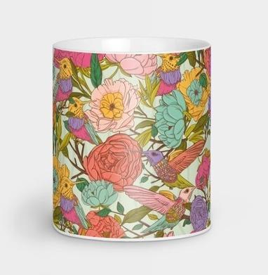 Цветочный орнамент с птицами и цветами - иллюстация, Новинки