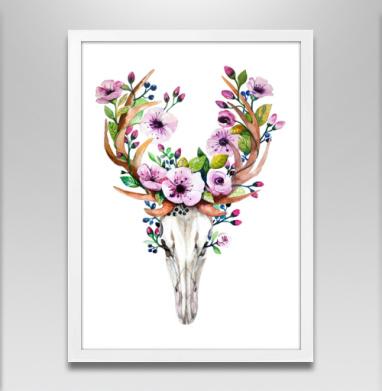 Олень акварель - Постер в белой раме, живопись