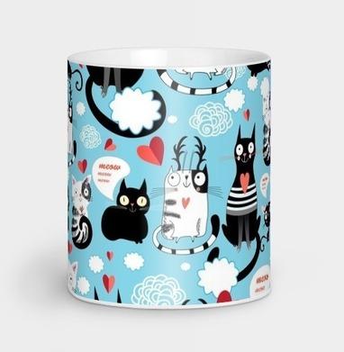 Узор влюблённые коты - Парные кружки