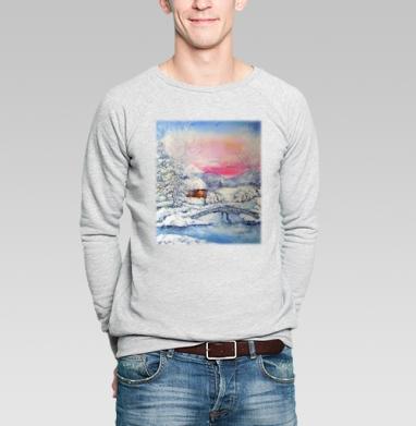Зимний пейзаж - Купить мужские свитшоты с живописью в Москве, цена мужских свитшотов с живописью  с прикольными принтами - магазин дизайнерской одежды MaryJane