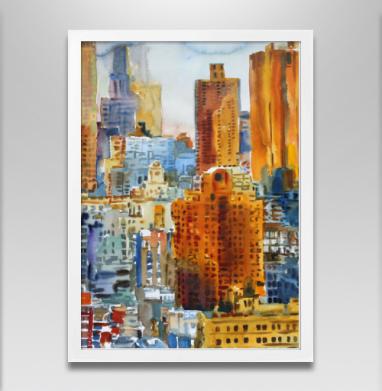 Вид с моста запечатка - Постер в белой раме, живопись