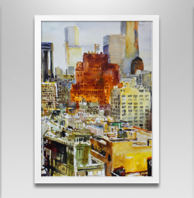 Фактура города запечатка - Постер в белой раме, город