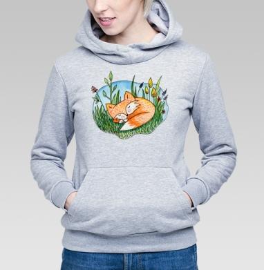 Сонный лис - Купить детские толстовки с акварелью в Москве, цена детских толстовок с акварелью  с прикольными принтами - магазин дизайнерской одежды MaryJane