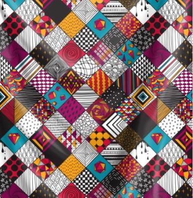 Графика. квадраты. бирюзовый акцент - Печать на текстиле