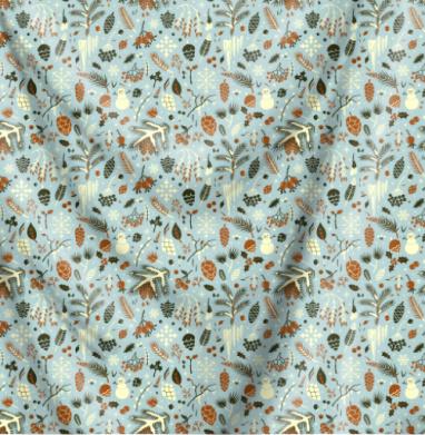 Зимний паттерн с шишками - Печать на текстиле