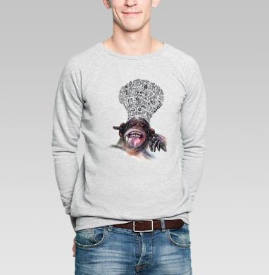 Манки эксплоужен     (муж.) - Свитшот мужской серый-меланж  320гр, стандарт, Парные