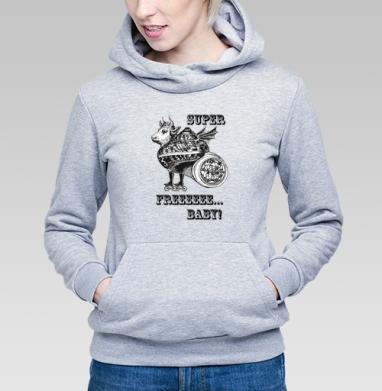Толстовка Женская серый меланж 340гр, теплый - Лось - это Реально нежный мэн  (жен.)