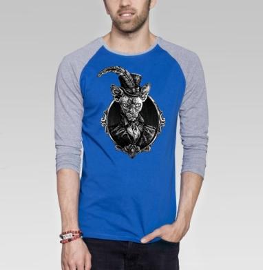 Барон - Футболка мужская с длинным рукавом синий / серый меланж, кошка, Популярные