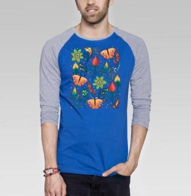 Цветочный паттерн - Футболка мужская с длинным рукавом синий / серый меланж, Бабочки