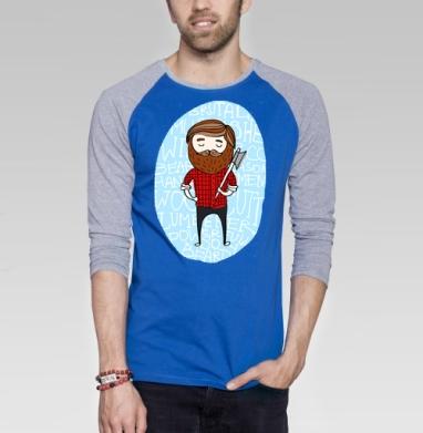 Лесоруб в клетку - Футболка мужская с длинным рукавом синий / серый меланж, борода, Популярные