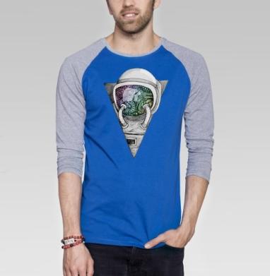 Космонавт - Футболка мужская с длинным рукавом синий / серый меланж, графика, Популярные