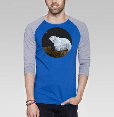 Мишка - Футболка мужская с длинным рукавом синий / серый меланж, горы, Популярные