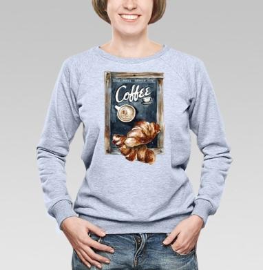 Кофе с круассанами - Купить детские свитшоты с едой в Москве, цена детских свитшотов с едой  с прикольными принтами - магазин дизайнерской одежды MaryJane