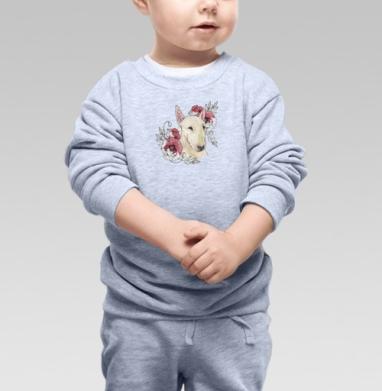 Cвитшот Детский серый меланж - Бультерьер и маки