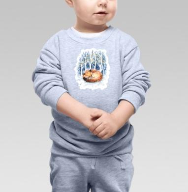 Cвитшот Детский серый меланж - Зимняя лисичка