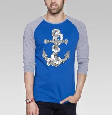 Канат  - Футболка мужская с длинным рукавом синий / серый меланж, морская, Популярные