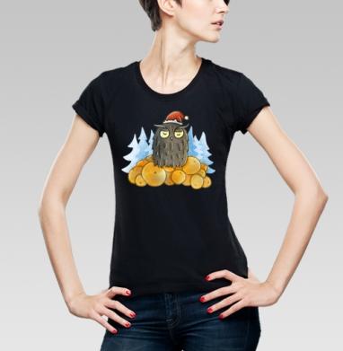Футболка женская чёрная - Новогодняя сова