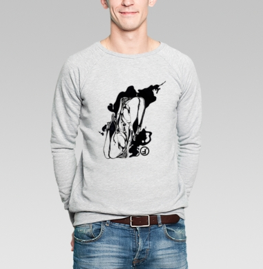 Свитшот мужской серый-меланж  320гр, стандарт - Ласт