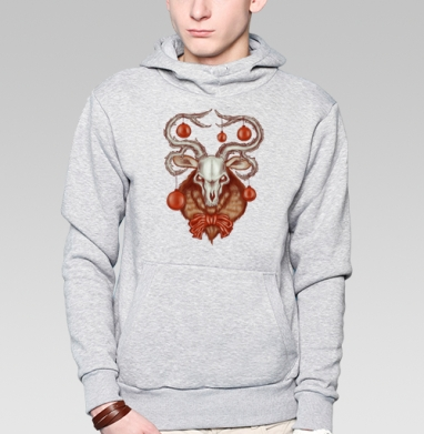 Толстовка мужская, накладной карман серый меланж - Нехипстерский олень