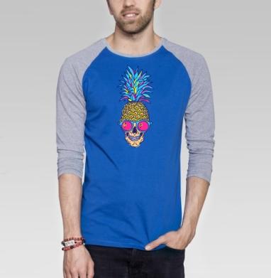 Лето, череп, ананас - Футболка мужская с длинным рукавом синий / серый меланж, лето, Популярные