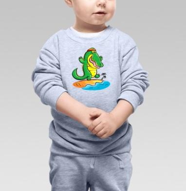 Cвитшот Детский серый меланж - Крокодил на Ямайке