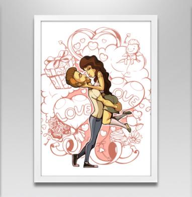 Лав - Постер в белой раме, поцелуй