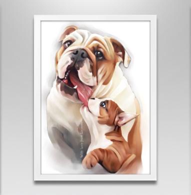 Материнская любовь - Постер в белой раме, собаки
