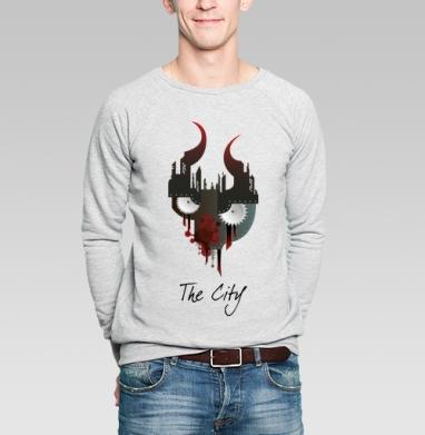 Город - Свитшот мужской серый-меланж  320гр, стандарт, жизнь, Популярные