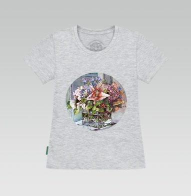 Футболка женская серый меланж - Цветы в кубе