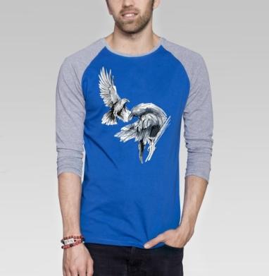 Вороны навсегда - Футболка мужская с длинным рукавом синий / серый меланж, серый, Популярные