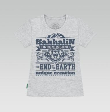 Футболка женская серый меланж - Сахалин - земля мечты