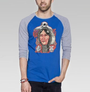 Лоухи хозяйка севера - Футболка мужская с длинным рукавом синий / серый меланж, этно, Популярные