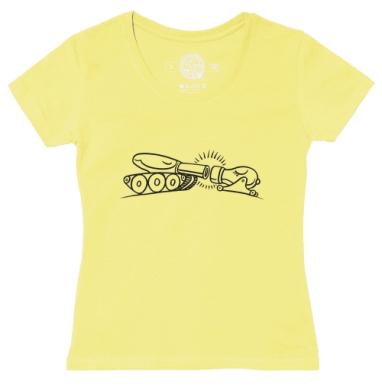 Футболка женская желтая - Танк и мортира